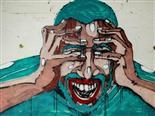 graffiti of man holding his head and screaming