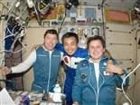 Expedition 19 Flight Engineer Michael Barratt (left), Expedition 18/19 Flight Engineer Koichi Wakata and U.S. spaceflight participant Charles Simonyi.