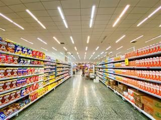 cereal aisle with crowded shelves