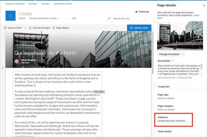 audience details visible in SharePoint