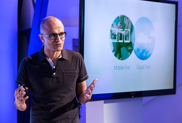 Microsoft's Satya Nadella annoucning Office for iPad.jpg
