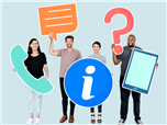 A diverse group of 4 poeple all holding different common customer service icons - customer data platform