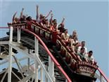 people riding the Cyclone rollercoaster