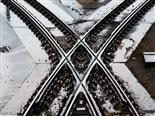 train tracks crossing over