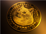 A dogecoin, digital currency, sitting on a gradient gold background