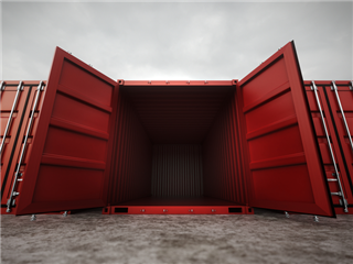 A red container with the doors swung wide open, the inside is empty - Cloud container vulnerability