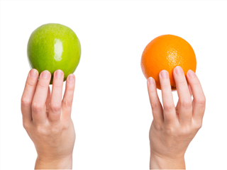 hands holding and comparing an apple and an orange on white background -  Agile, SCRUM or Kanban concept