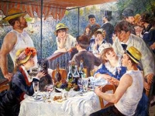 painting of people at luncheon/party