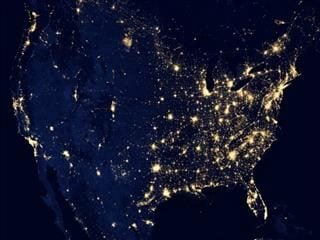 lit up United States at night. NASA pic
