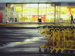 shopping carts at night