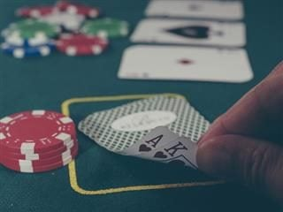 playing cards, chips on the table