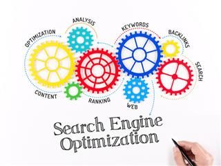 Business gears labeled with SEO terms creating a mechanism