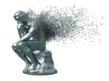 Desintegration Of Metal Sculpture Thinker On White Background - learning concept