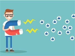 illustration of young man using a huge magnet to attract social media likes