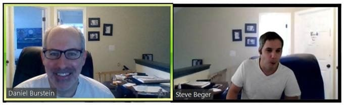Screenshot of two men on a Zoom conference call.