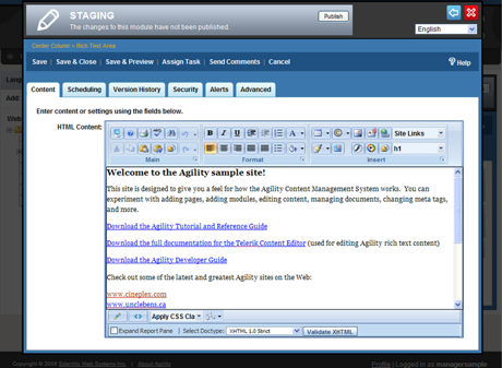 The Agility CMS rich text editing environment