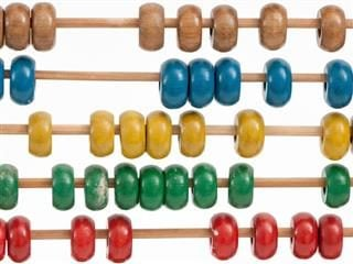 brightly colored beads of an abacus