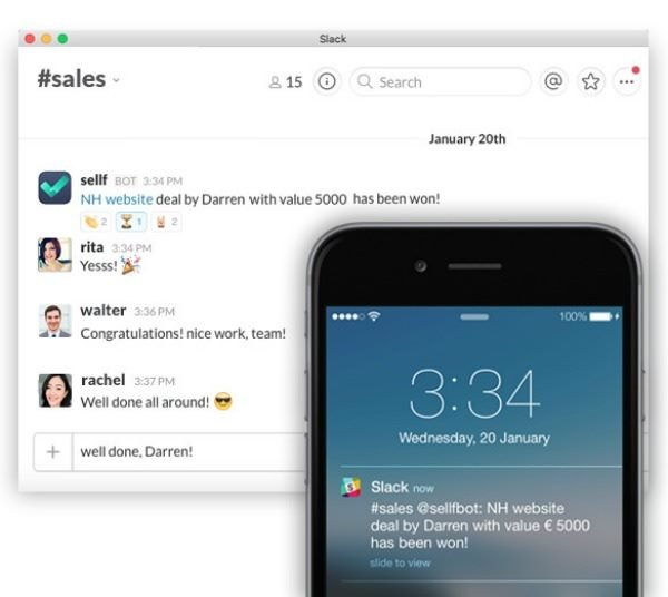 slack sellf app screenshot