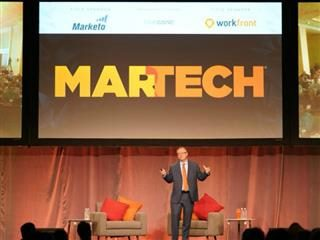 Scott Brinker on stage at the 2017 MarTech Conference in Boston.