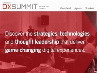 screenshot of CMSWire's DX Summit 2016 homepage