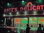 Katz's Deli lit up at night