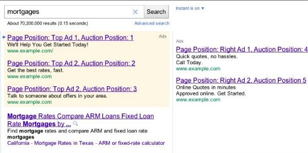 google page search results with paid ads on left and right side of desktop screen