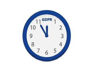 "Drawing of a clock with ""GDPR"" replacing the ""12"""