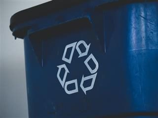 close up of a recycling bin