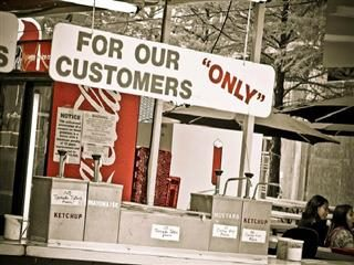 """for our customers ""only"""" sign"
