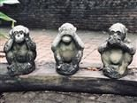 hear, see and speak no evil monkey statues