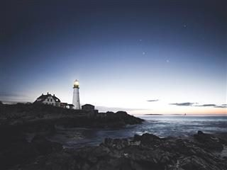 Maine lighthouse at night