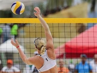 volleyball player at the net