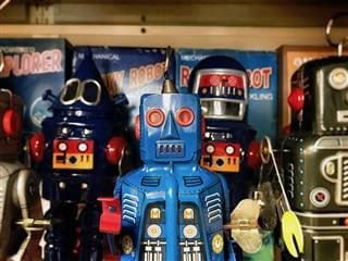 toy robots lined up