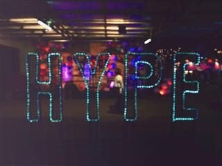 glittery sign of word 'hype'