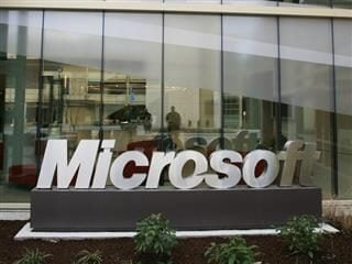 Microsoft logo in front of building