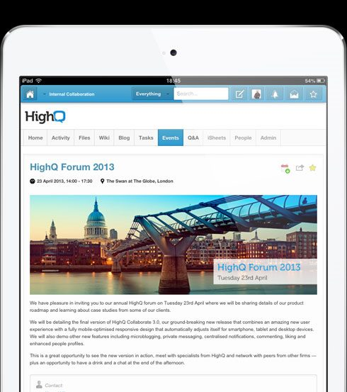 Social Business, HighQ's Collaborate 3 Platform Offers Now Provides Due Diligence Tools