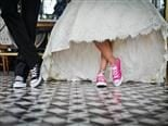 bridal couple in sneakers