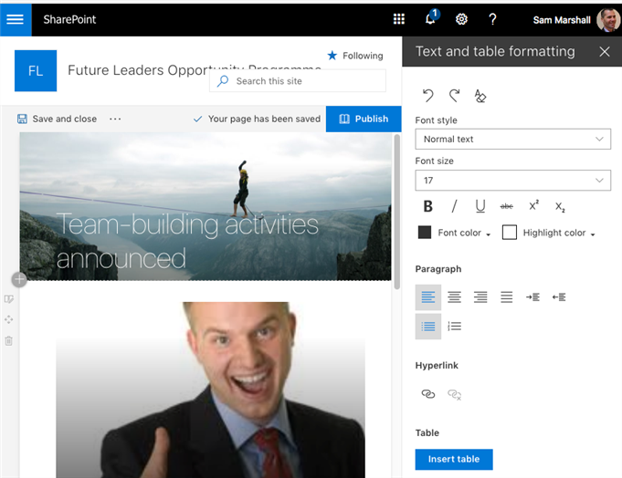 Text editing tools are fairly limited in SharePoint's Hub sites, but keeps sites looking relatively clean and uniform.