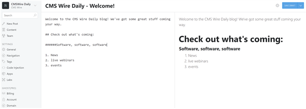 Ghost Blogging Interface
