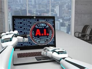 Robot arms holding a magnifying glass over a PC screen with the words AI and computer code