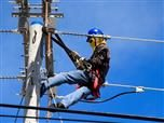 line worker  for  electric  company at work
