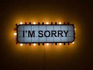 "art installation by Adel Abidin: neon sign that says ""I'm sorry"""