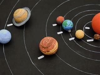 a kid's  science project with models  of the  solar  system
