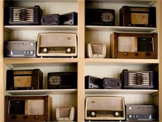 old radios, on the wall