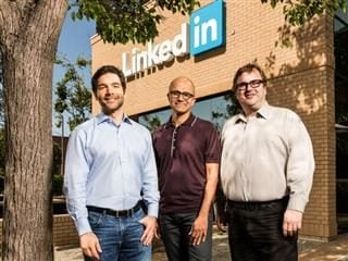 LinkedIn CEO Jeff Weiner, Microsoft CEO Satya Nadella and Reid Hoffman, chairman of the board, co-founder and controlling shareholder of LinkedIn,