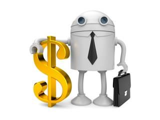 A robot/chatbot with an arm around a dollar sign