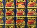 wall of spam at the Spam Museum in Austin, Minnesota