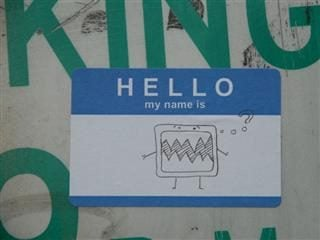 """Hello My Name Is"" sticker with drawing on it"