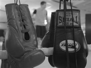 Boxing gloves hanging upside down.