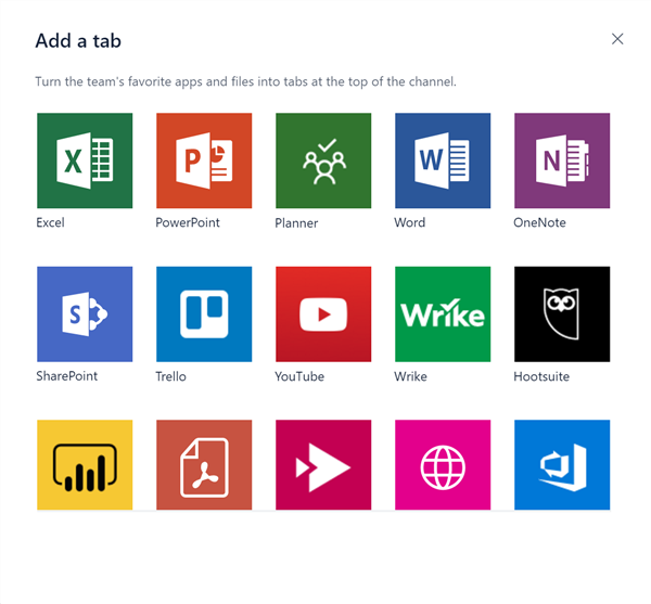 app integrations available in Microsoft Teams